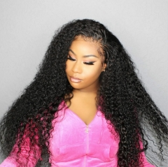 13*6 Human Hair Wigs Kinky Curly Natural Color Peruvian Remy Hair Wigs With Baby Hair