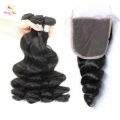 Hot Selling Loose Wave Bundles, Free Shipping 3 Bundle Deals with Closure
