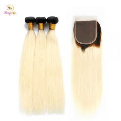 Ombre Brazilian Straight Human Hair Bundles,2 Tone Blonde Remy Hair Weaves 3 Bundles with Closure Free Shipping