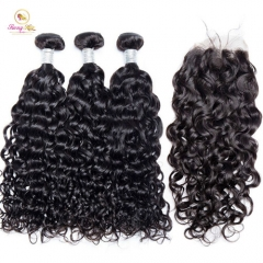 Sanny Water Wave Brazilian Hair Weave Bundles Human Hair 3 Bundles with Closure 10-30inch Natural Black Color Remy Hair Extension