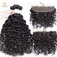 Lace FRONTAL with Bundles Water Wave 3bundles with Frontal MALAYSIAN Human Hair Sanny None Remy Free Shipping