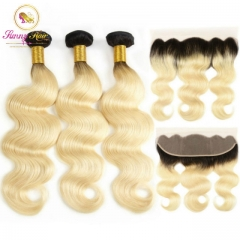 613 Honey Blonde 1b/613 Bundles Body Wave Brazilian Hair Weave Bundles 100% Remy Hair Extensions with Frontal