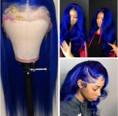 Sanny Preplucked Colored Lace Front Wig Glueless Malaysian Straight/Body Wave Remy Dark Blue Lace Front Human Hair Units With Baby Hair
