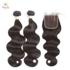 2 Bundles Deal with Closure,Brazilian Hair Natural Color Human Hair Weave Remy Hair Weft