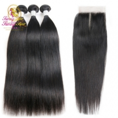 Peruvian Straight Hair 3 Bundles Human Hair Extensions With 4*4 Lace Closure Double Weft Weave Bundles With Closure