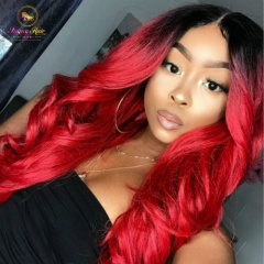 1B Red Wave Full Lace Wig, Custom Ombre Red Wig Glueless