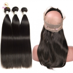 Peruvian Hair Straight Bundle Deals with 360 Lace Frontal, Ponytail Frontal