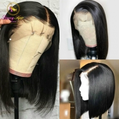 Straight Human Hair Bobs Lace Front Wigs with Baby Hair Brazilian Remy Hair Unit