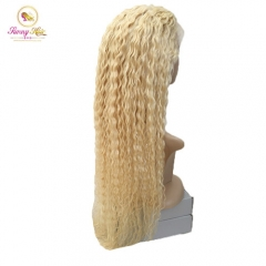 Luxury Russian Blonde Hair,Custom 613 Blonde Deep Wave Full Lace Wig, Can Dye to Any Color