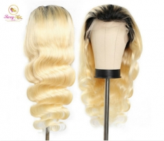 New Platinum Ombre Blonde 1B/613 Body Wave Full Lace Wig  Swiss Lace at Affordable Price,Glueless Adjustable 613 Wig, Free Shipping