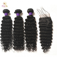 Brazilian Deep Wave 3 bundle with closure remy human weave 3 bundles with closure and 4x4 swiss lace