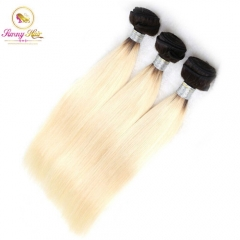 3 Bundle Deals, Russian Ombre Blonde Silk Straight Hair, Can Dye to Any Color