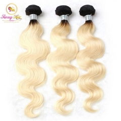 3 Bundle Deals, Russian Ombre Blonde Silk Body Wave Hair, Can Dye to Any Color