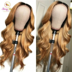Sanny Body Wave Brazilian Lace Front Human Hair Wigs With Baby Hair Ombre 1b/27 Honey Blonde Remy Wig Pre Plucked Bleached Knots