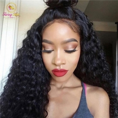 Glueless Full Lace Unit,Pure Human 150% Virgin Hair Lace Unit Deep Wave Wig
