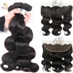 Body Wave Hair 3 Bundles With Frontal Non-Remy Human Hair Bundles With Frontal