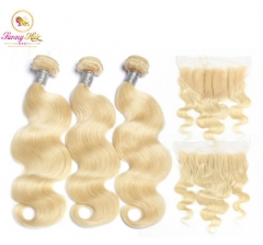 613 Blonde Brazilian Body Wave Hair Weave Bundles Human Remy Hair Weaves 3 Bundle Deals with Frontal