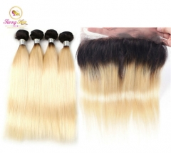 Sanny Hair 613 Blonde 1b Ombre  Straight Frontal 4 Human Remy Hair Bundles with Frontal
