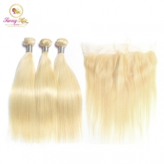Platinum Blonde Color Brazilian Hair 613 Blonde Straight Human Hair Weave Bundles with Frontal,Remy Hair Can Be Dyed
