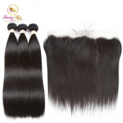 Straight Hair 3 Bundles With Frontal Non-Remy Human Hair Bundles With  Frontal