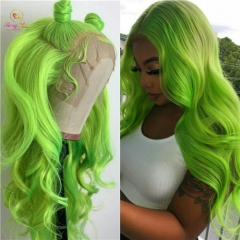 Sanny Custom Mint Green Color Lace Front Unit,Body Wave/Straight Green Wig