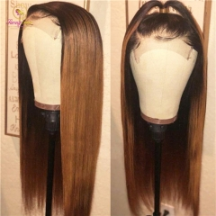Straight Pre Plucked Lace Front Human Hair Wigs With Baby Hair 8-26 Inch Ombre Remy Hair Glueless Brazilian Wigs 130 Density