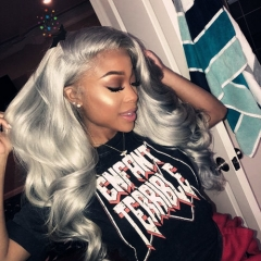 Grey Color Lace Front Human Hair Wigs 130% Density Brazilian Virgin Remy Hair Wavy Lace Frontal Wig