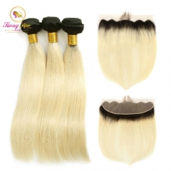 Remy 1B/613 Ombre Brazilian Hair Bundles with Frontal in Stocks