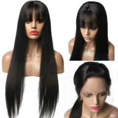 Sanny Lace Front Human Hair Wigs Bangs Pre-Plucked Remy Brazilian Hair Wigs With Bangs 130 Density 13X6 Lace Front Wigs Women