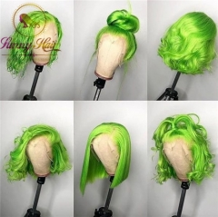Mint Green Human Hair Wigs with baby hair Colored Wigs,Short Wig Straight Natural Hair Green Lace Front Wig Bob Colored Hair