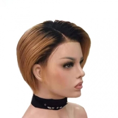 short custom pixie cut wigs brazilian human remy hair customized lace front wig for black women