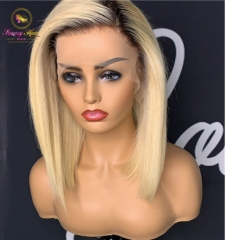 1b/613 Black Dark Root Ombre Blonde Wig Lace Front Wig With Baby Hair Short Bob