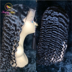 Lace Front Human Hair Wigs Malaysian Deep Wave Wig Pre Plucked Wigs Human Hair With Baby Hair Long Black Hair