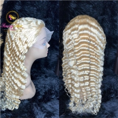 Sanny Hair 613Platinum Blonde Deep Wave Lace Frontal Wig at Affordable Price,Glueless Adjustable 613 Wig, Free Shipping