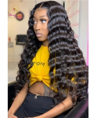 360 Frontal Unit, 150% Density Human Virgin Hair Lace Unit Deep Wave Wig
