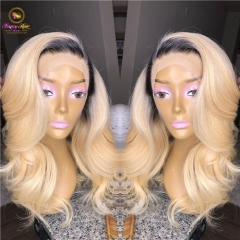 Sanny Platinum Ombre Blonde Pre Plucked non remy Hair Brazilian Lace Front Wigs