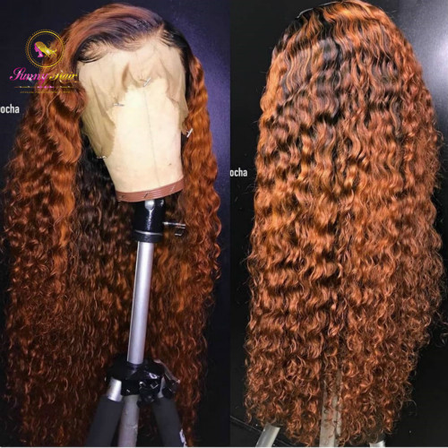 150% Omber Curly Wig Brazilian Water Wave Wig Virgin Human Hair  Lace front Wigs Pre Plucked Hairline