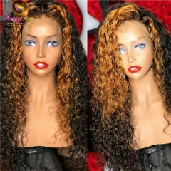 200% 10A Hot Selling Deep Curly Highlight Pre Plucked Wig Bleached knots Glueless 13x6 Lace Front wigs Bleached knots
