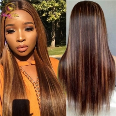 Sanny Transparent Lace Front Human Hair Wig Brown And Blond Highlight Wigs Brazilian Remy Lace Frontal Wig Blonde Highlighted