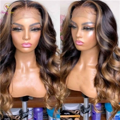 Sanny Braizilian Lace Front Human Hair Wigs PrePlucked Honey Blonde Remy Ombre Color Glueless Wig With Highlight