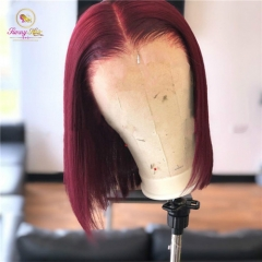 Burgundy 99J 13*6 Deep Part Lace Front Human Hair Wigs With Baby Hair Straight Pre Plucked Hairline BOB Wig Brazilian Remy Wigs