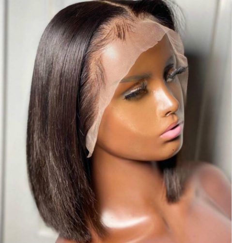 Straight Human Hair Bobs 13*4 Lace Front Wigs with Baby Hair Brazilian Remy Hair Unit